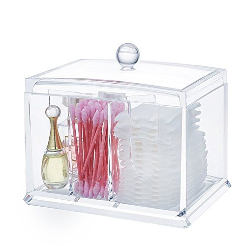 Cq acrylic Concise Cotton Swab Organizer,Cleaning Pad Holder and Swab Storage canisters,5.5 x 4 x4.7inch,Pack of 1