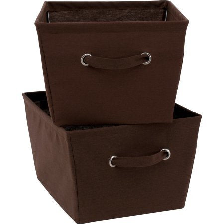 Mainstays Large Canvas Bins, 2-Pack,Brown