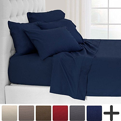 6 Piece 1800 Collection Deep Pocket Bed Sheet Set - Ultra-Soft Hypoallergenic - 2 EXTRA PILLOW CASES (Queen, Dark Blue)