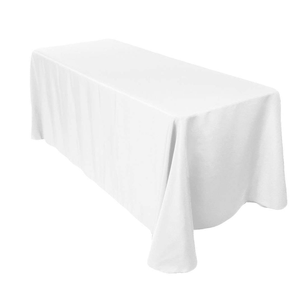 "Gee Di Moda Rectangle Tablecloth - 90 x 132"" Inch - White Rectangular Table Cloth for 6 Foot Table in Washable Polyester - Great for Buffet Table, Parties, Holiday Dinner, Wedding & More"