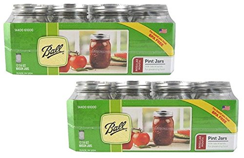 12 Ball Mason Jar with Lid Regular Mouth, 16 oz (2 Packs of 12)