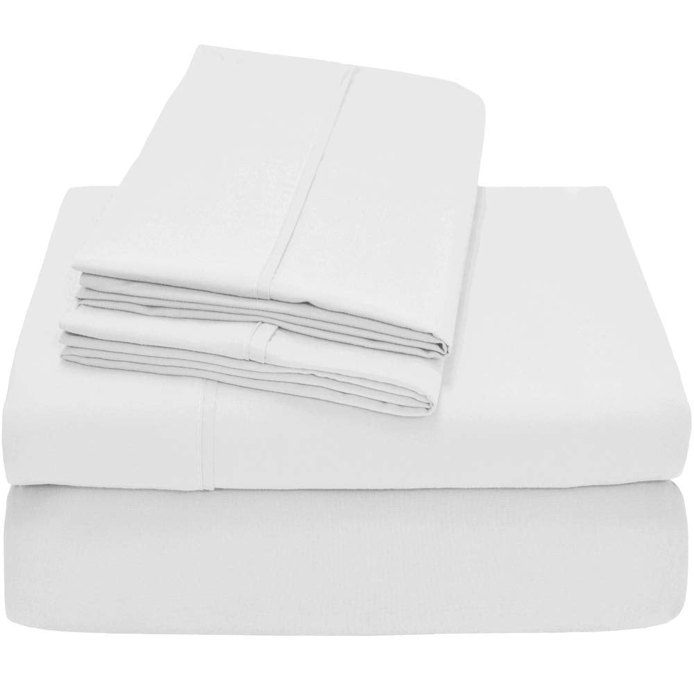 "Bare Home Premium 1800 Ultra-Soft Microfiber Sheet Set Twin Extra Long - Double Brushed - Hypoallergenic - 21"" Extra Deep Pocket - Wrinkle Resistant (Split King, White)"
