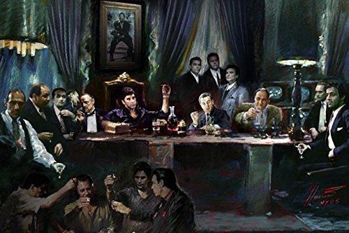 Buyartforless Gangster Last Supper by Ylli Haruni 36x24 Art Print Poster Godfather Scarface Sopranos Goodfellas