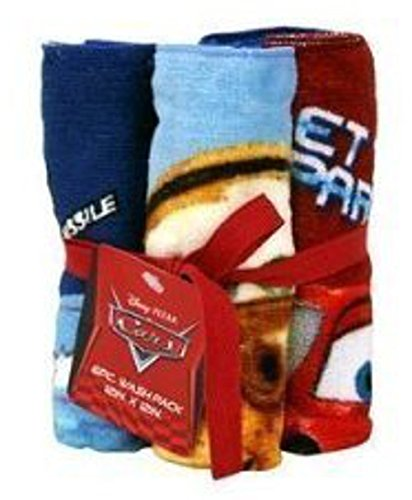 "Disney Pixar Cars Lightning McQueen Mater McMissile Washcloth Bundle 12"" x 12"" Set of 6"