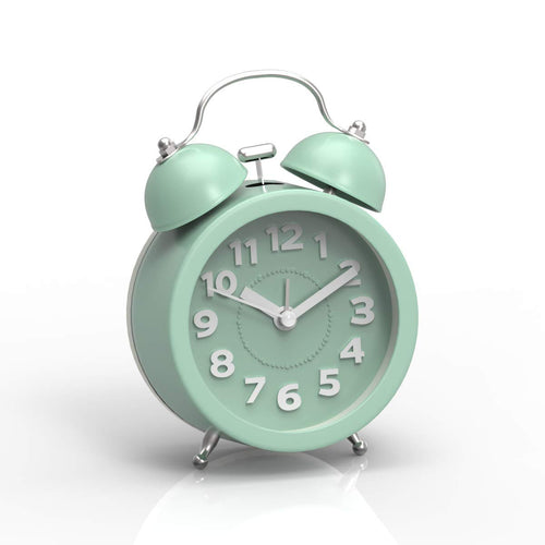 "PiLife 3"" Mini Non-ticking Vintage Classic Bedside /Table Analog Alarm Clock with Backlight , Battery Operated Travel Clock, Round Twin Bell Loud Alarm Clock for Kids( 3D Mint Green)"