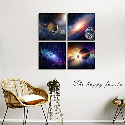 Wieco Art Giclee Canvas Prints Wall Art Paintings for Bedroom Home Decorations Universal Magic Power Modern 4 Piece Stretched and Framed Contemporary Star Sky Pictures Astronomy Landscape Artwork