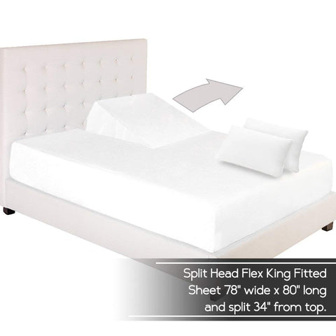 Fitted Sheet + Pillowcase Set - Premium 1800 Ultra-Soft Microfiber - Hypoallergenic - Wrinkle Resistant (Split Head Flex King, White)