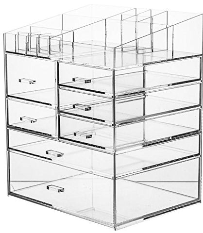 Cq acrylic Extra Large 6 Tier Clear Acrylic Cosmetic Makeup Storage Cube Organizer with 7 Drawers. The Top of The Different Size of The Compartment, Suitable for Storing Lipstick and Makeup Brush
