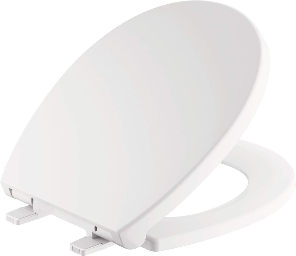 Delta Faucet 801903-WH Morgan Round Front Slow-Close Toilet Seat with Non-Slip Seat Bumpers, White
