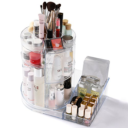 Cq acrylic 360 Rotating Makeup Organizer, DIY Adjustable Makeup Carousel Spinning Holder Storage Rack, Large Capacity Make up Caddy Shelf Cosmetics Organizer Box,Clear