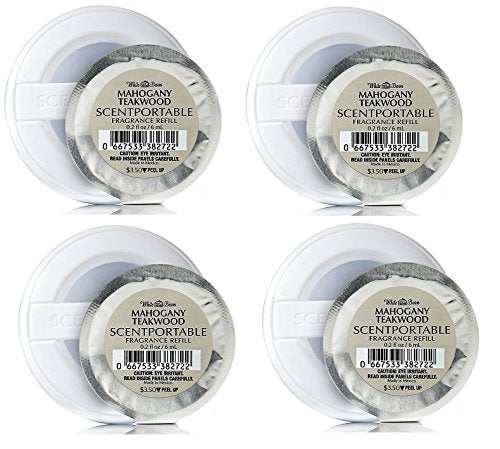 Bath & Body Works Mahogany Teakwood Scentportable Bundle of 4 Refill Discs