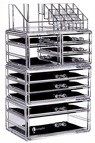 "Cq acrylic Large 9 Tier Clear Acrylic Cosmetic Makeup Storage Cube Organizer with 10 Drawers. It Consists of 4 Separate Organizers, Each of Which Can be Used Individually -9.5""x6.5""x14.5"""