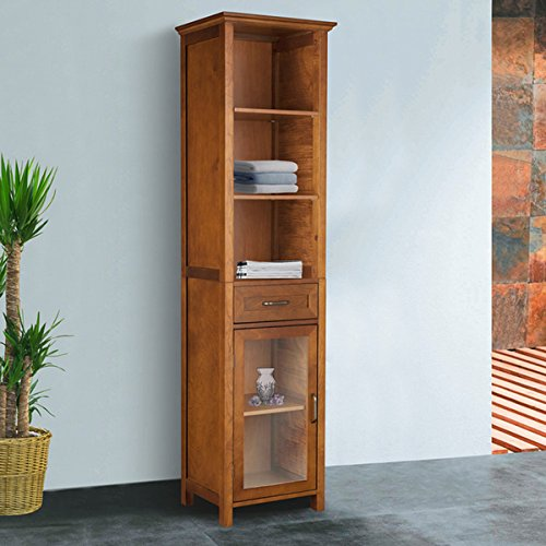 Wooden Oak-Finish Linen Tower Storage Cabinet, Adjustable Shelves