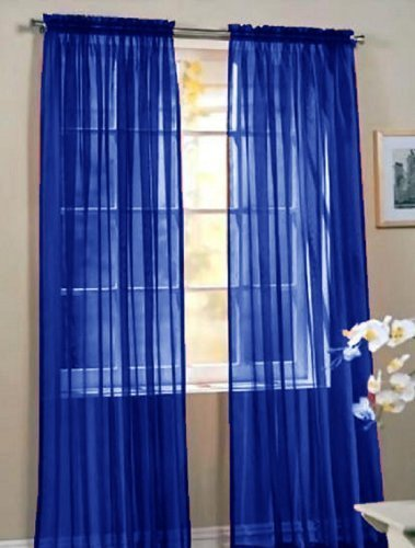 "Elegant Comfort 2 Piece Solid Sheer 60"" x 84"" Window Curtains/drape/panels/treatment, Royal Blue"