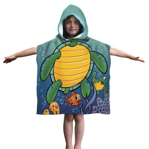 Kids Turtle Cotton Hooded Poncho Bath/Beach Towel