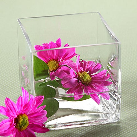 "Hosley Set of 4 Glass Vases/Cubes - 3.94"" Square - Ideal Gift for Weddings, Spa, Aromatherapy. Flower Arrangements, Bowl for Orbs, DIY, Craft Projects, LED Votive Candle Gardens O7"