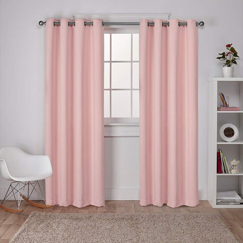 Exclusive Home Curtains Sateen Twill Weave Blackout Window Curtain Panel Pair with Grommet Top, 52x96, Blush, 2 Piece