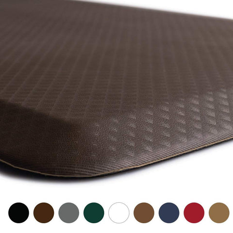 "KANGAROO BRANDS Original 3/4"" Anti Fatigue Comfort Standing Mat Kitchen Rug, Phthalate Free, Non-Toxic, Waterproof, Ergonomically Engineered Floor Pad, Rugs for Office Stand Up Desk, 32x20 (Brown)"