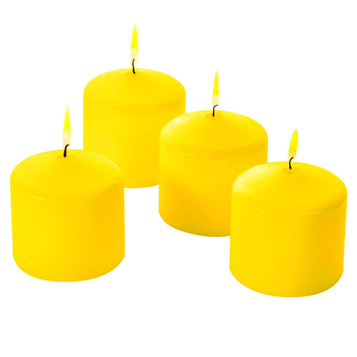 Citronella Pillar Candles - Scented - Yellow Color - Indoor Outdoor 3x3 Inch - Set of 4 - MADE IN USA