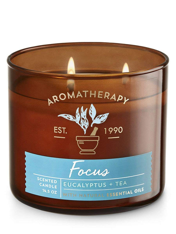 Bath & Body Works 3 Wick Candle – Aromatherapy Scented Candle – Eucalyptus & Tea Focus