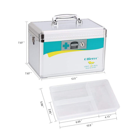 AZDENT Locking Medicine Box Medical Lock Box Precription Storage Medication Box 7.7 x 7.9 x 12 inches (Silver)