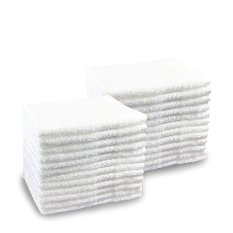 Pacific Linens 24-Pack White 100% Cotton Towel Washcloths, Durable, Lightweight, Commercial Grade and Ultra Absorbent