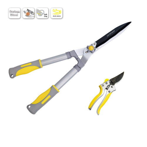 Jardineer 2Pcs Garden Shears – Heavy Duty Hedge Clipper and Cut Easy Hand Pruner, Garden Tools for Trimming and Pruning, Ideal Garden Gifts