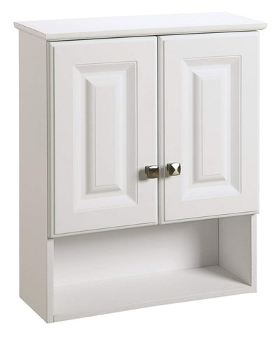 Design House 531715 Wyndham White Semi-Gloss Bathroom Wall Cabinet with 2-Doors and 1-Shelf, 22-Inches Wide by 26-Inches Tall by 8-Inches Deep