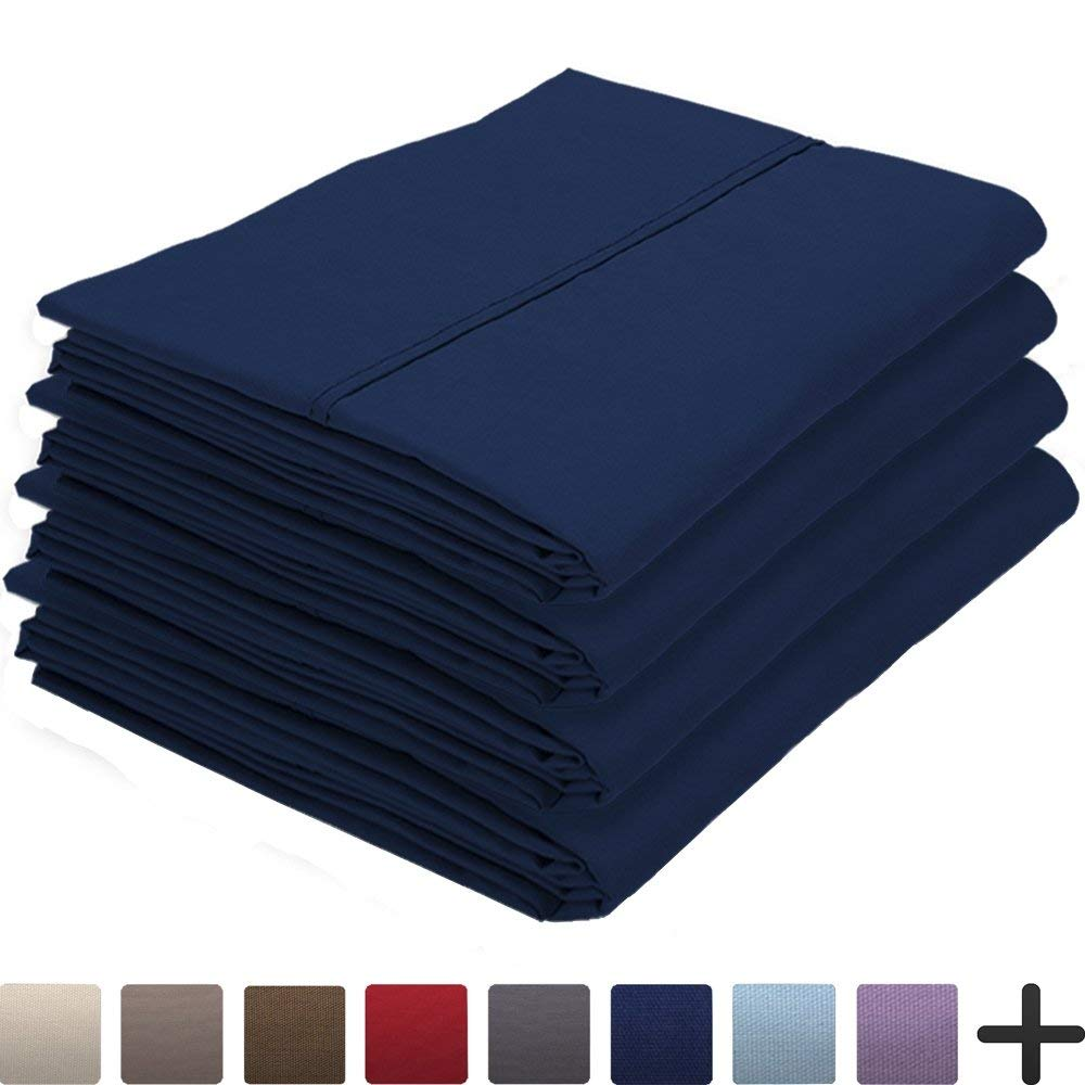 4 Pillowcases - Premium 1800 Ultra-Soft Collection - Bulk Pack - Double Brushed - Hypoallergenic - Wrinkle Resistant - Easy Care (Standard - 4 Pack, Dark Blue)