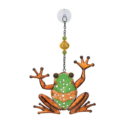 Regal Art & Gift Frog 7.25 inches x 1 inch x 11.5 inches Metal Glass Plastic Sun Catcher - Hanging Garden Accessories