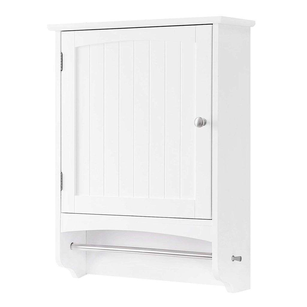 "SONGMICS Wall Cabinet, Hanging Bathroom Storage Cabinet with Rod and Adjustable Shelf, Medicine Cabinet, Wooden, White 18.9""L x 6.3""W x 25.6""H, UBBC22WT"