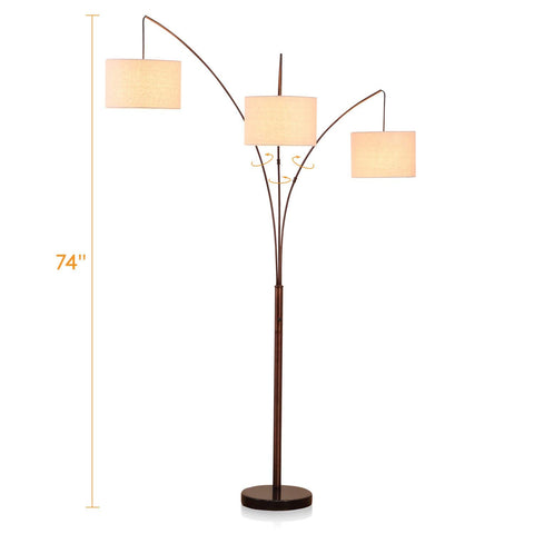 Brightech Trilage - Modern LED Arc Floor Lamp with Marble Base – 3 Hanging Lights, Great for Reading - Free Standing, Behind The Living Room Couch Uplight & Downlight - Oil Rubbed Bronze