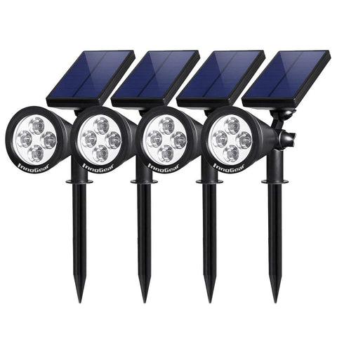 InnoGear Upgraded Solar Lights 2-in-1 Waterproof Outdoor Landscape Lighting Spotlight Wall Light Auto On/Off for Yard Garden Driveway Pathway Pool, Pack of 4 (White Light)