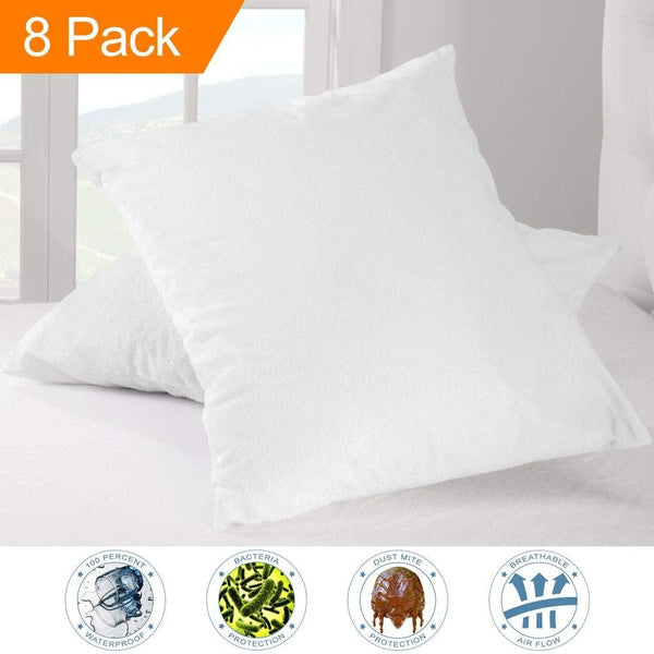 Bare Home 8 Pack Premium Pillow Protector - 100% Waterproof - Vinyl Free Hypoallergenic - 10 Year Warranty - (Standard Size, Pack of 8)