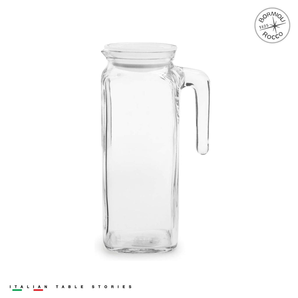 Bormioli Rocco Glass Frigoverre Jug With Airtight Lid (1 Liter): Clear Pitcher With Hermetic Sealing, Easy Pour Spout & Handle – For Water, Juice, Iced Coffee & Iced Tea