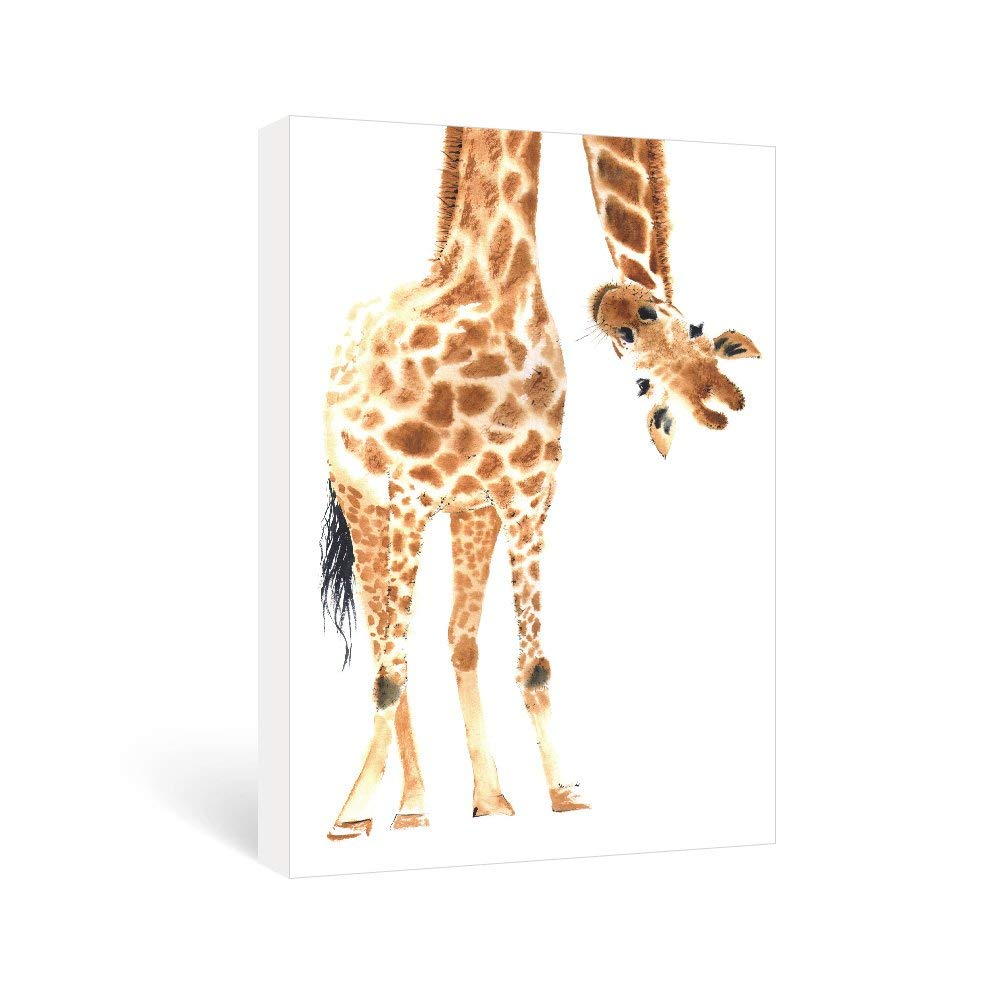 SUMGAR Wall Art Decor Canvas Prints Contemporary Paintings Funny Giraffe for Kids Room,16x24 inch Framed