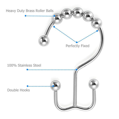 Amazer Shower Curtain Hooks Rings Double Shower Curtain Rings Stainless Steel Rustproof Metal Double Glide Shower Hook Ring Chrome for Bathroom Shower Rods Curtains, Polished Chrome, Set of 12 Hooks