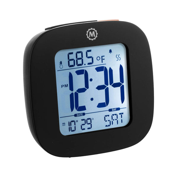 Marathon CL030058BK Compact Alarm Clock with with Snooze, Light Feature, Temperature and Date - Black - Batteries Included