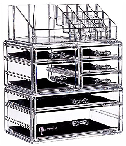 "Cq acrylic 6 Tier Clear Acrylic Cosmetic Makeup Storage Cube Organizer with 7 Drawers. It Consists of 3 Separate Organizers, Each of Which can be Used Individually -9.5""x6.5""x11.8"""