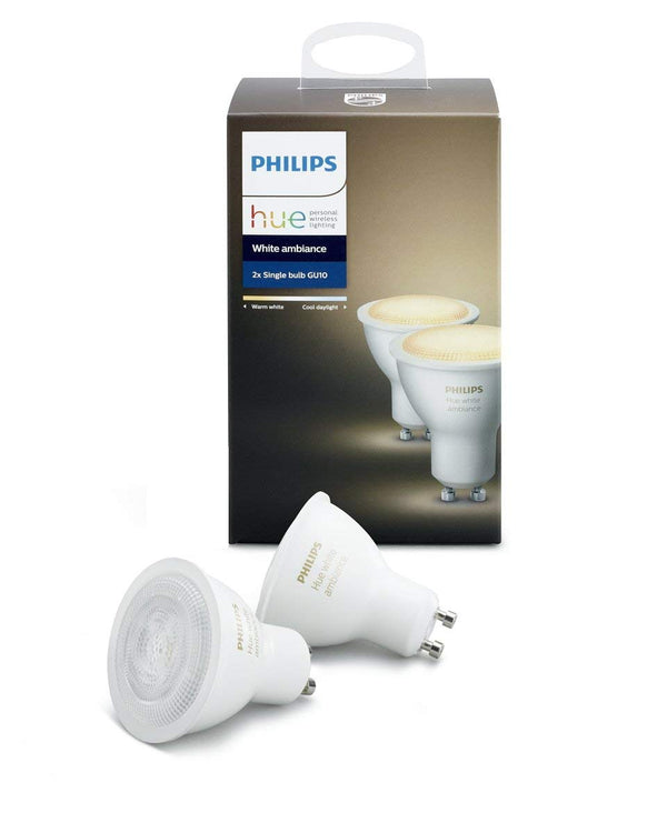 Philips Hue 2-Pack White Ambiance GU10 Dimmable LED Smart Spot Light (Compatible with Amazon Alexa Apple HomeKit and Google Assistant)