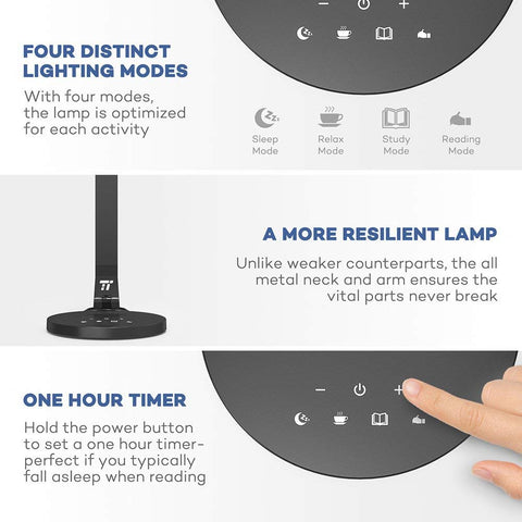 TaoTronics LED Desk Lamp Fully Rotatable Dimmable, Wider Lighting Zone, USB Charging Port, 4 Color Modes and 4 Brightness Levels, 1 Hour Timer, Official Member of Philips EnabLED Licensing Program