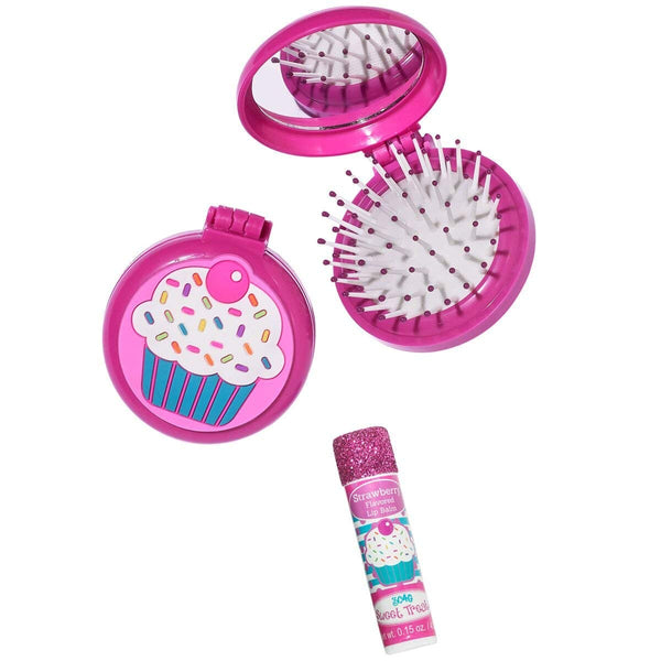 3C4G Cupcake Folding Brush and Mirror Set with Bonus Lip Balm