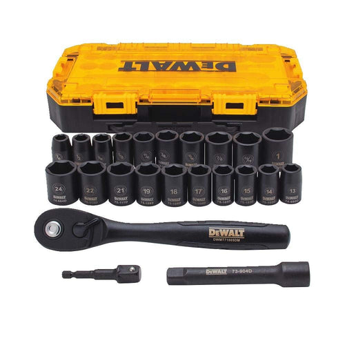 DEWALT Tough Box 23 PC 1/2 Drive Impact Socket Set