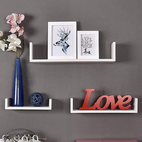 WELLAND U Shape Display Wall Shelf Set 3 White