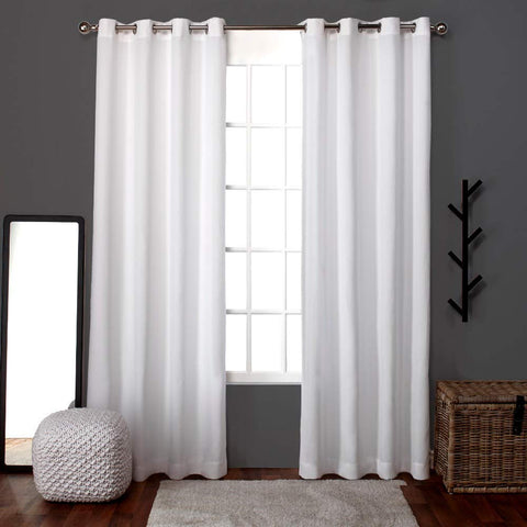 Exclusive Home Loha Linen Window Curtain Panel Pair with Grommet Top, Winter White, 52x108, 2 Piece