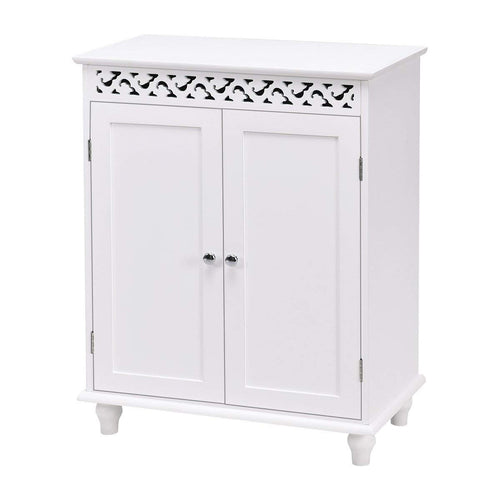 WATERJOY Storage Cabinet, Wooden Floor Cabinet with 2 Doors and 2 Shelves, Home Fashions Cabinet Cupboard with White Finish and Stylish Design, Snow White