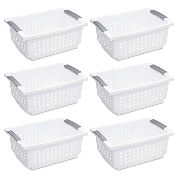 STERILITE 16628006 Medium Stacking Basket, White Basket w/Titanium Accents, 6-Pack