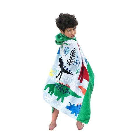 Bavilk Kids Children Hooded Poncho Dinosaur Swim Beach Bath Towel for Girls/Boys