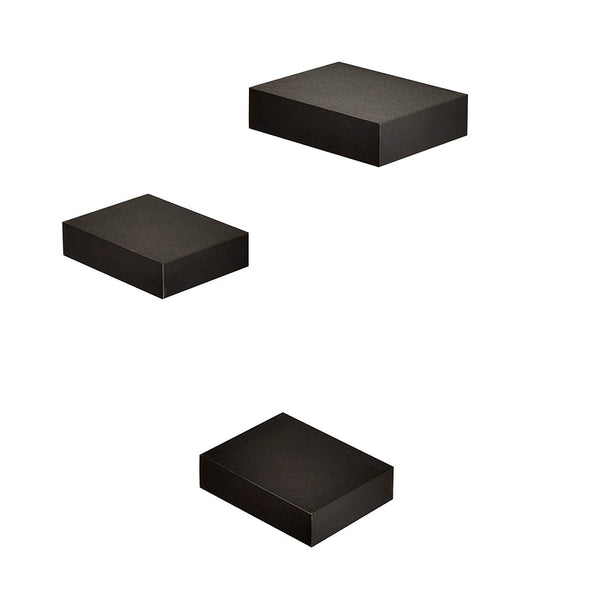 WELLAND Small Size Square Wall Showcase Display Shelves, Set of 3 (Black)