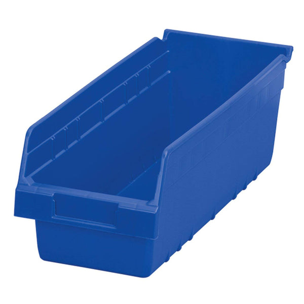 Akro-Mils 30098 ShelfMax Plastic Nesting Shelf Bin Box, 18-Inch Length x 6.75 Inch Width x 6-Inch Height, Case of 10, Blue